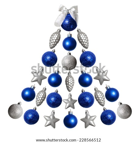 Set of Christmas baubles in shape of Christmas tree isolated on white background - stock photo