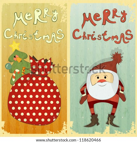 Set of Christmas card - two postcard in Retro style - JPEG version - stock photo