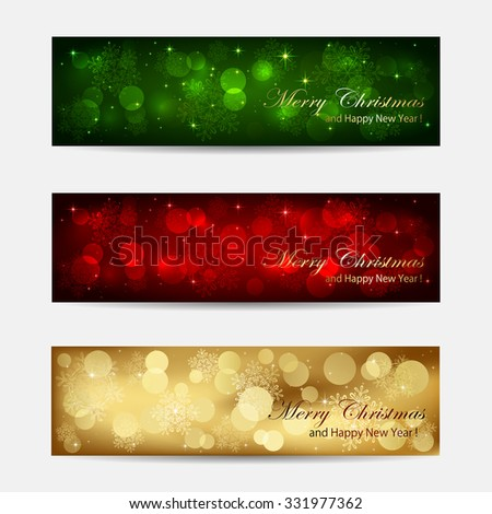 Set of Christmas cards with blurry lights, illustration. - stock photo
