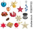 Set of Christmas decorations isolated on white background - stock photo