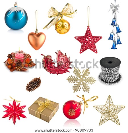 Set of Christmas decorations isolated on white background - stock photo