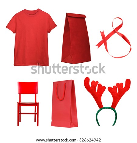 Set of Christmas gifts - red t-shirt, ribbon, deer antlers, present bags, chair isolated on white. Christmas shopping  - stock photo