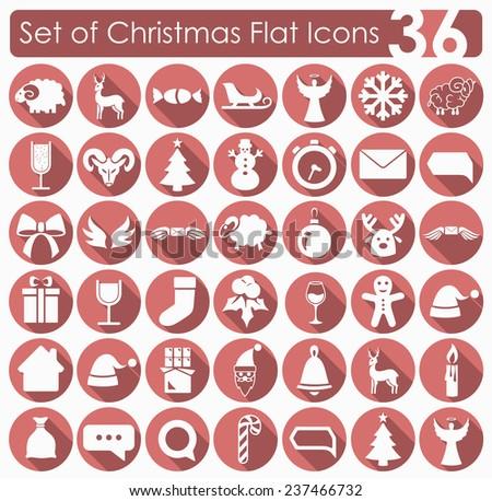 Set of Christmas icons - stock photo