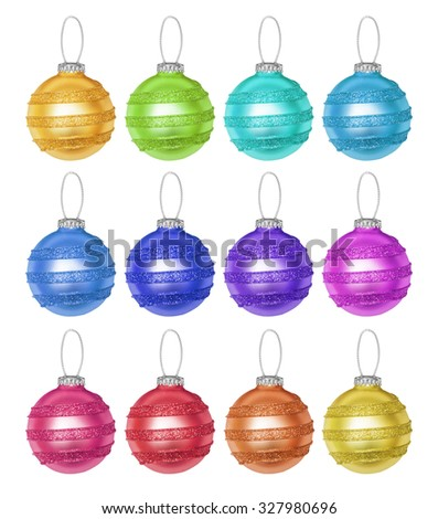 Set of Christmas New Year baubles, orange, red, blue, green, lilac, pink, yellow, spheres, balls isolated on the white  - stock photo