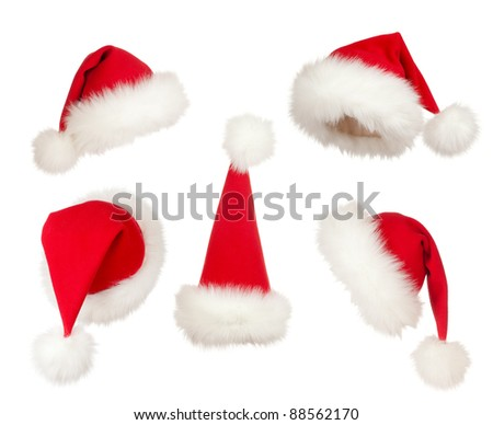 set of Christmas Santa hats - stock photo