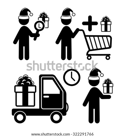 Set of Christmas Shopping Gifts Flat Black Pictograms People Icons Isolated on White Background