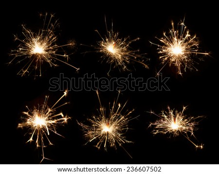 Set of Christmas sparkler on black background