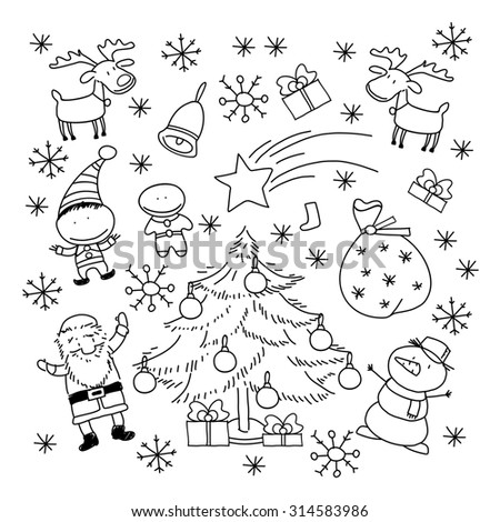 Set of Christmas symbols and elements, black and white (raster version) - stock photo