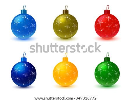 Set of Christmas tree colored balls. Christmas decoration, christmas background, christmas ornaments, celebration and holiday, ornament xmas, sphere bauble, decor bright, decorative. Raster version - stock photo