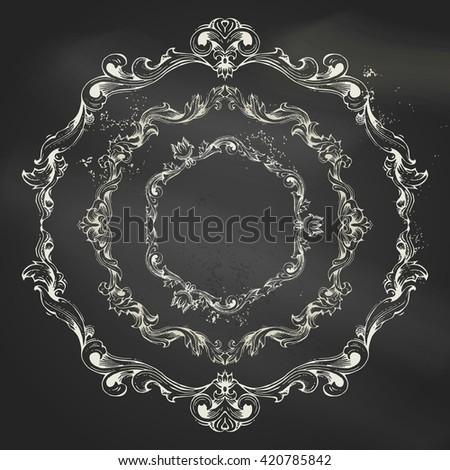 Rococo Mirror Frame Decor Vector French Stock Vector