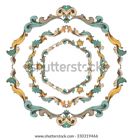 Set of circle vintage frames. Bright hand-drawn frames and page decorations with retro ornament. There is place for your text in the center.