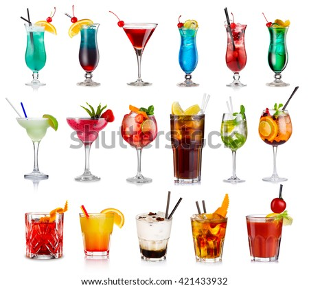 Set of classic alcohol cocktails isolated on white background   - stock photo