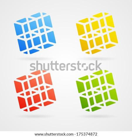 Set of clean color 3d elements - stock photo