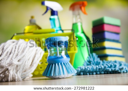 Set of cleaning products, home work colorful theme - stock photo