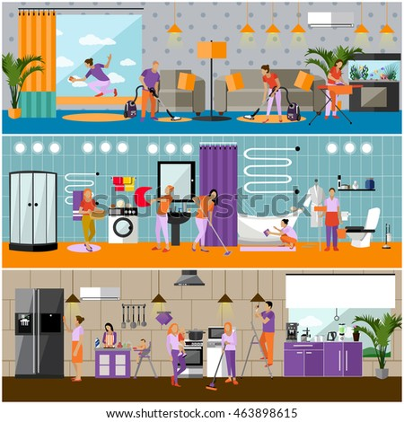 Set Cleaning Service Concept Banners People Stock Illustration 463898615 Shutterstock