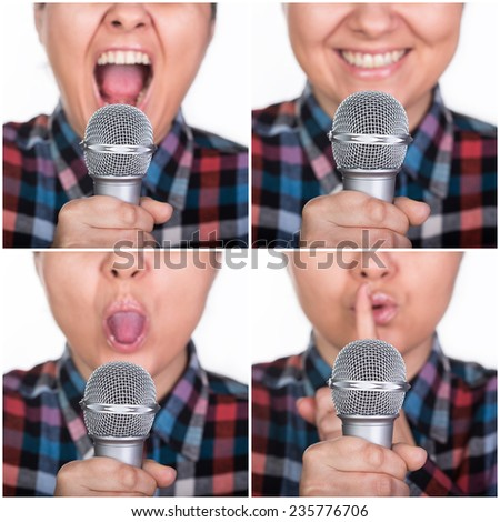Set of close up facial expressions with microphone - stock photo