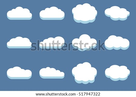 Set of clouds in the blue sky. White cloud design and cloudscape illustration