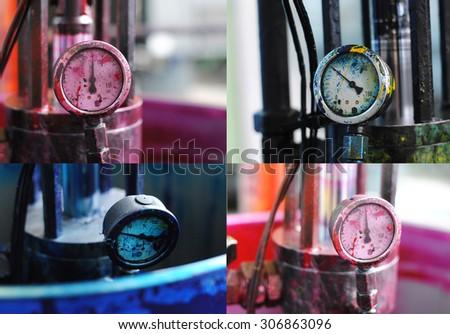 Set of CMYK barometers from typography: magenta, black, cyan. - stock photo