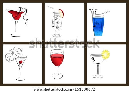 Set of cocktail glasses and wine glasses on white background. Raster version. - stock photo