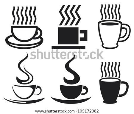 set of coffee cups an mugs icons