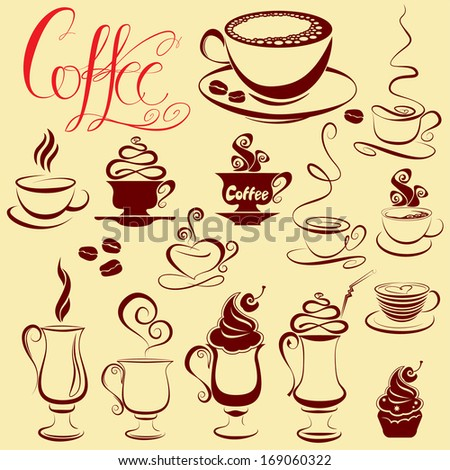 Set of coffee cups icons, stylized sketch symbols. Raster version - stock photo