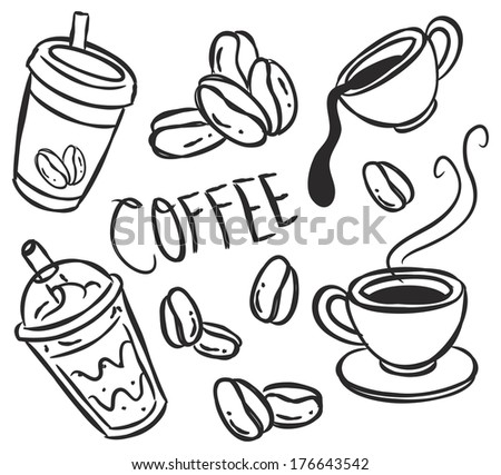 set of coffee doodle - stock photo