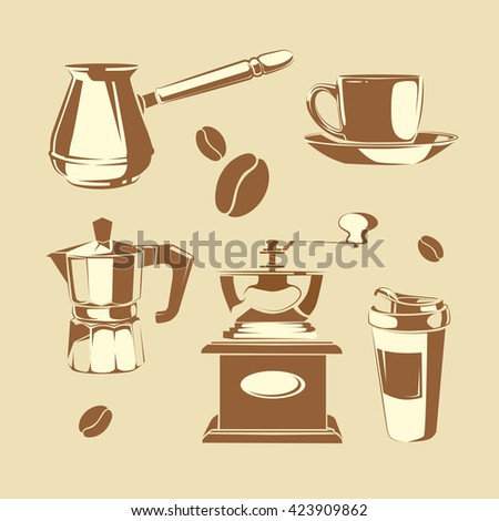 Set of coffee making equipment. Cezve, old fashioned manual burr mill coffee grinder, moka pot, turkish manual coffee and pepper grinders, cup coffee - stock photo