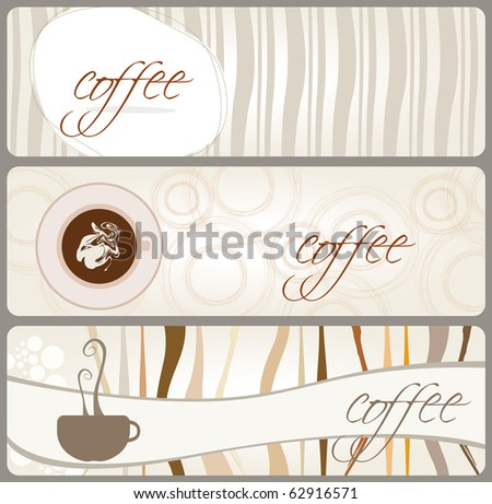 Set of coffee themed banners - stock photo