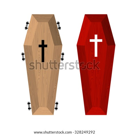 Set of coffins. Red beautiful expensive coffin and a wooden coffin. illustration of accessories for death.  - stock photo