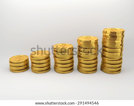 Set of coins sort by vertically column with gradient background. - stock photo
