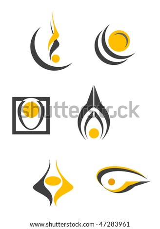 Set of color abstract symbols isolated on white, such as emblems or logo template. Vector version is also available - stock photo