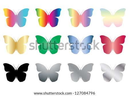 set of color and black butterflies