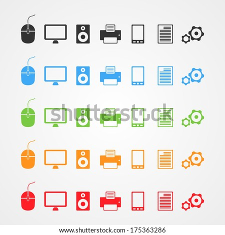 Set of color computer icons