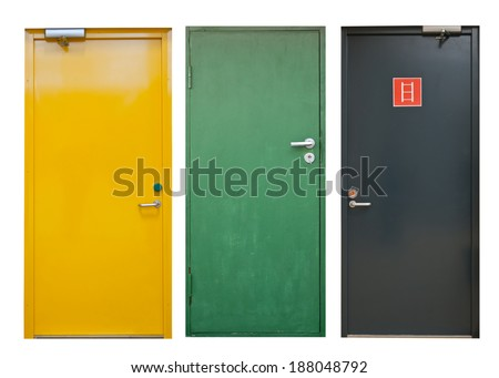 Set of color doors isolated on white - stock photo