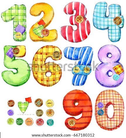 set of color numbers digits watercolor illustration cartoon kids figures - Color Numbers