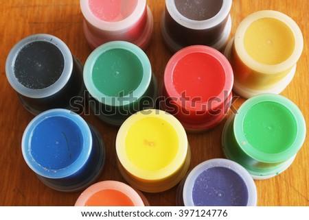 Set of color paints - stock photo