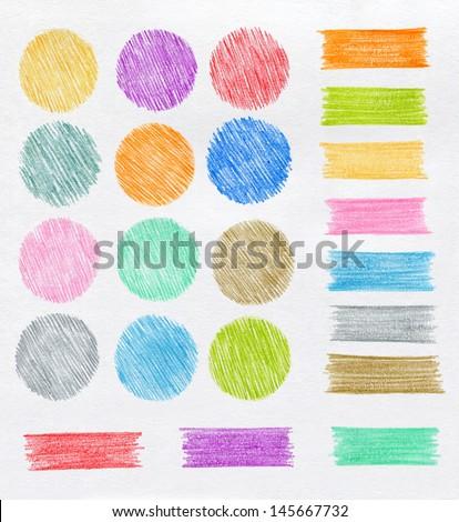 Set of color pencil design elements - stock photo