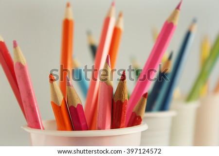 Set of color pencils - stock photo