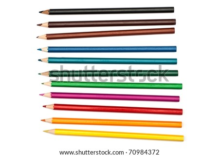 set of color pencils isolated on white background - stock photo