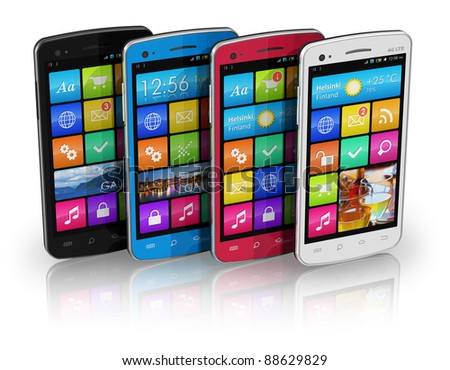 Set of color touchscreen smartphones isolated on white reflective background - stock photo