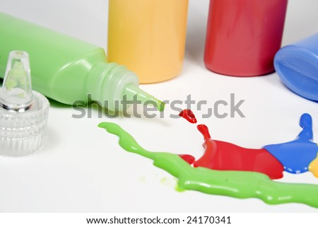 Set of colored blot on white paper - stock photo