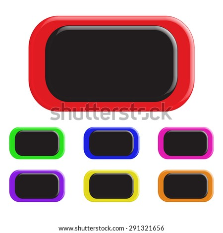 Set of colored buttons. In a rectangular shape. 3D.