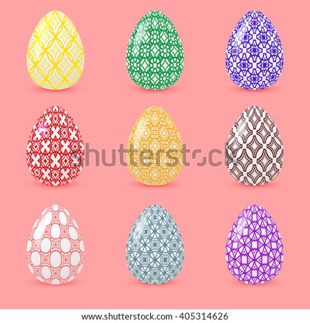 Set of colored Easter eggs with geometric patterns. Realistic objects with shadows isolated on a pink background. Rasterized version. - stock photo