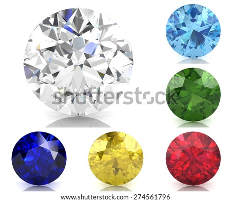 Set of colored gems (high resolution 3D image) - stock photo