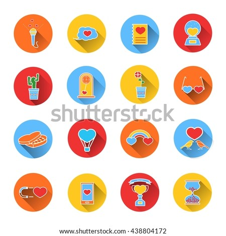 Set of colored icons for Valentine's day. Collection of colorful icons in flat style. Elements of design for web design, mobile applications, romantic design products - stock photo