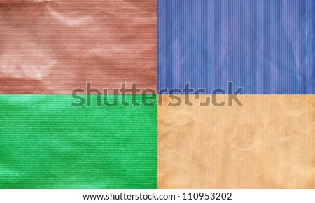 Set of colored lined recycled paper scans, high resolution, - stock photo