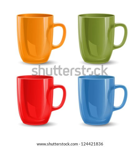 Set of colored mugs,raster version - stock photo