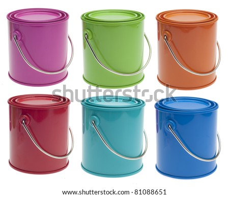 Set of 6 Colored Paint Cans in Pink, Green, Orange, Red, Turquoise and Blue Isolated on White with a Clipping Path. - stock photo
