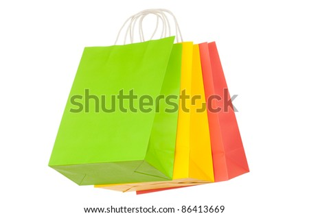 Set of colored paper shopping bags - stock photo