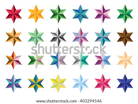 Set of colored stars. Collection of stars. Series stars on a white background